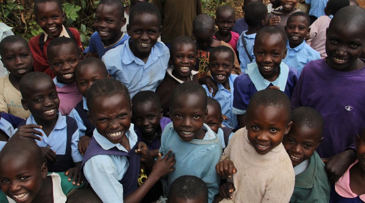 Smiling children in Kenya.