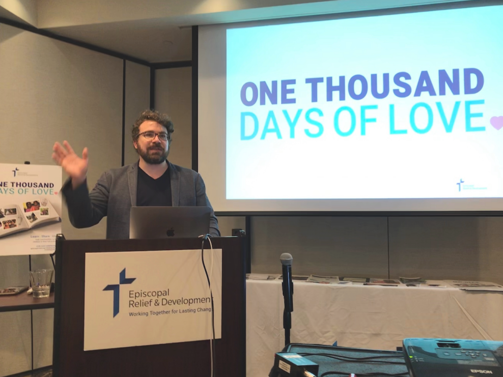 Chad Brinkman sharing the good works of ONE THOUSAND DAYS OF LOVE.