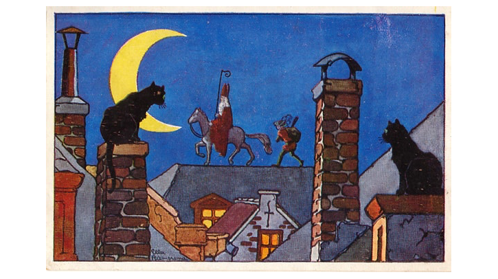 Cats perch on rooftops in the foreground looking on as a St. Nicholas figure on a horse stands on a roof in the background. It's night and a crescent moon is shining.