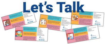 """Header text """"Let's Talk"""" with five illustrated cards below"""