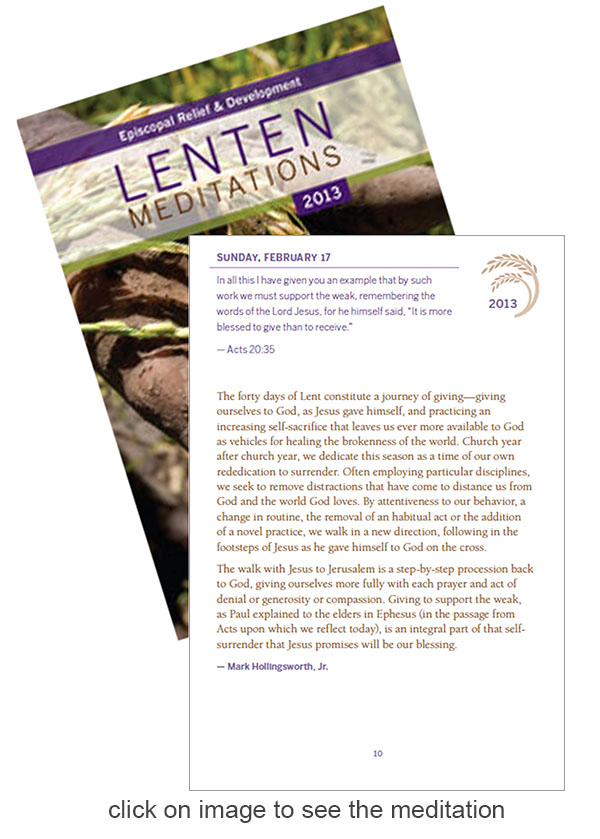 Lent, Lenten Meditations, Episcopal, hunger, poverty