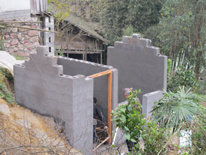 Sanitary toilet under construction in Puxi Village